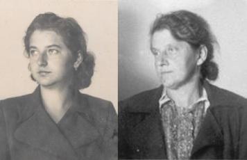 Erika Gugig (damals: Uhlir) und ihre Mutter Maria Hrybal, 1941 (Fotos aus der Gestapo-Kartei).